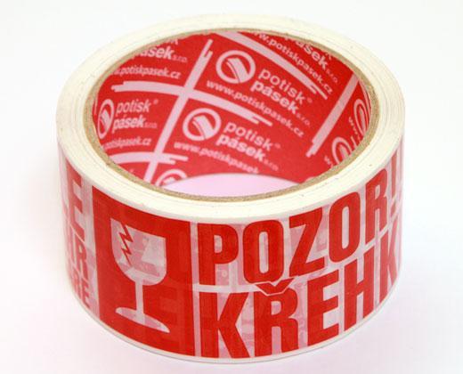 """detailní informace o Balicí lepicí páska š. 50 mm """"POZOR KŘEHKÉ, FRAGILE""""  (potiskpasek)"""