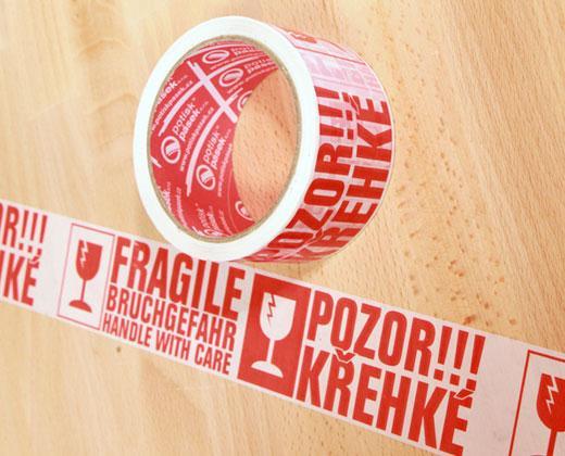"""Balicí lepicí páska š. 50 mm """"POZOR KŘEHKÉ, FRAGILE"""""""