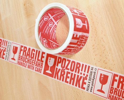 """Balicí lepicí páska š. 50 mm """"POZOR KŘEHKÉ, FRAGILE"""" za dotovanou cenu"""