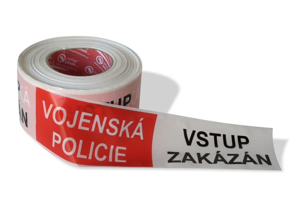 VOJENSKÁ POLICIE - VSTUP ZAKÁZÁN - nelepicí páska 500 m