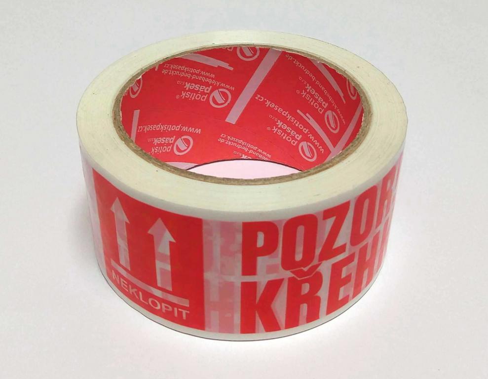 """Balicí lepicí páska š. 50 mm """"POZOR KŘEHKÉ, NEKLOPIT"""""""